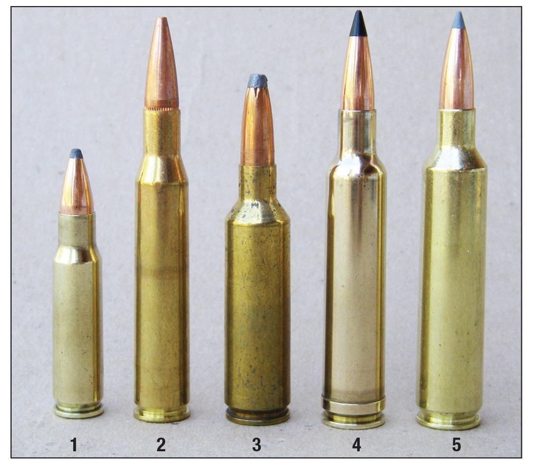Common .27-caliber cartridges include: (1) 6.8 SPC, (2) .270 Winchester, (3) .270 WSM, (4) .270 Weatherby Magnum, and now the (5) .27 Nosler.