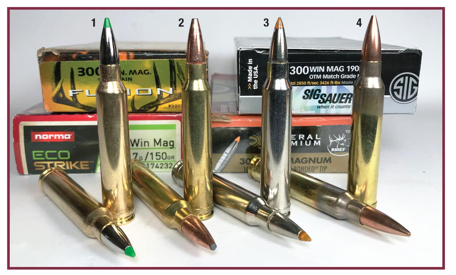 The Cooper Open Country rifle shot well with these four .300 Winchester Magnum factory loads: (1) Norma 150-grain