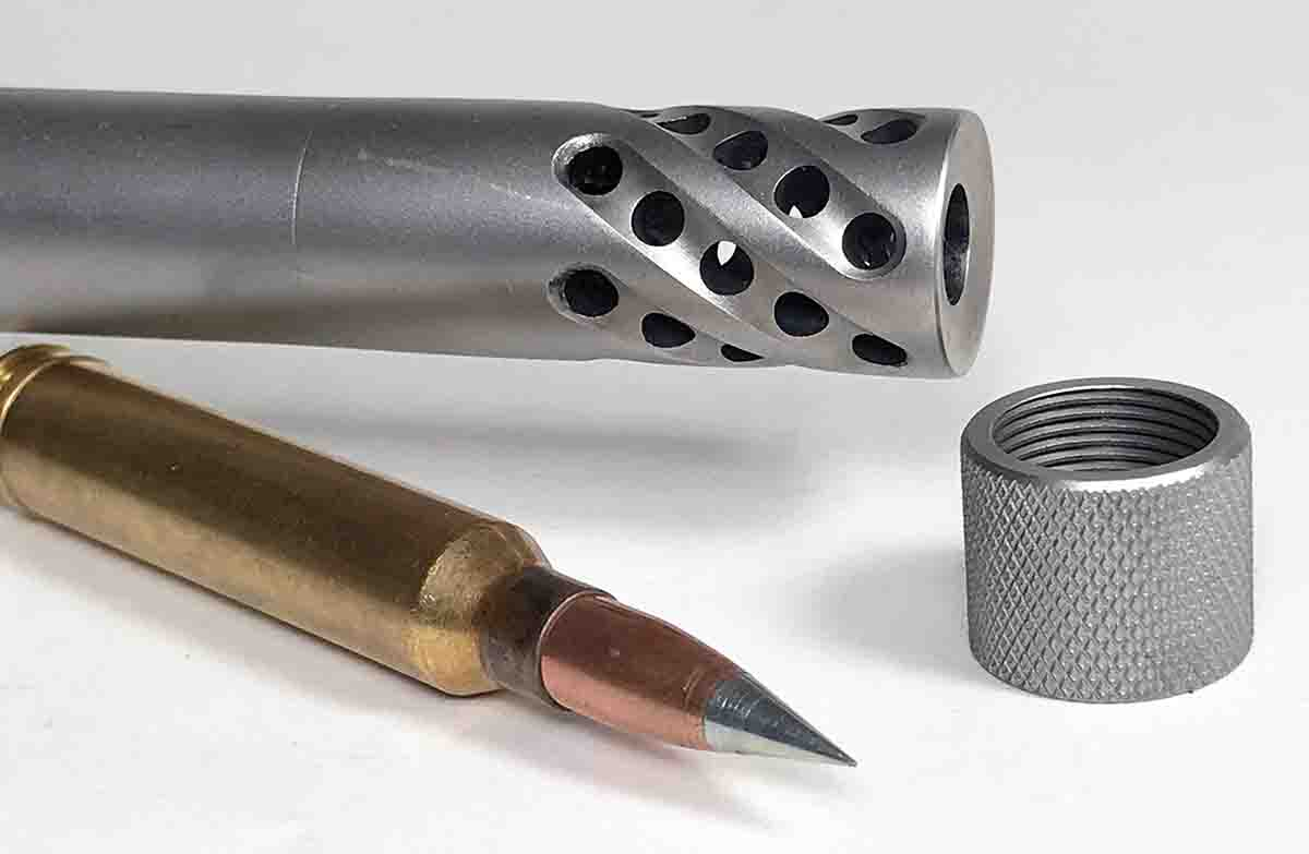 A muzzle brake removed a lot of the recoil generated by firing .300 Magnum cartridges containing 80-some grains of powder and heavy bullets.