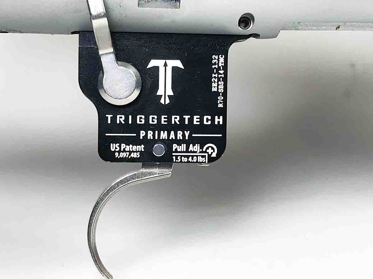 The TriggerTech trigger is adjustable from 1.5 to 4 pounds.