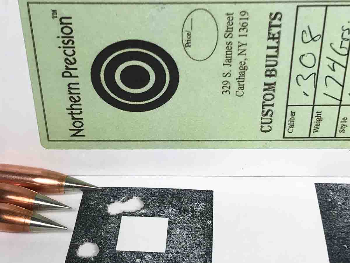 The test rifle provided this group at 100 yards with .300 Winchester Magnum cartridges handloaded with Northern Precision ULD bullets and IMR-7977 powder.