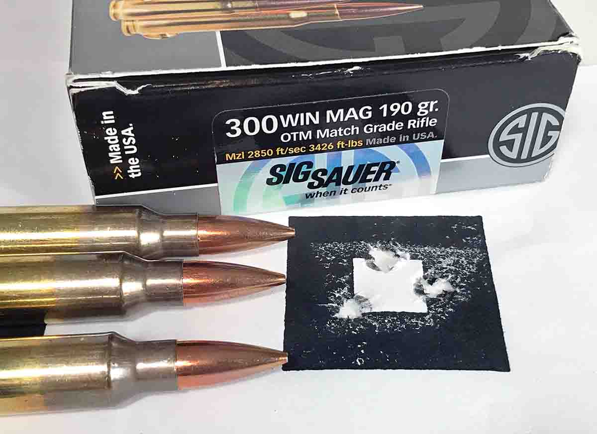 The Open Country shot this group with SIG SAUER Elite 190-grain Open Tip Match factory loads.