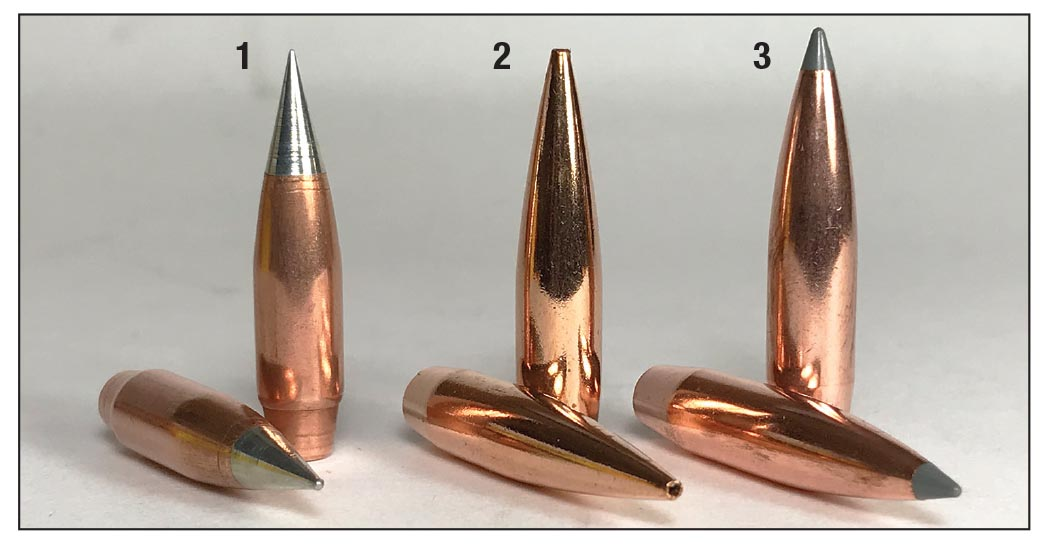 Bullets used in handloads include the (1) Northern Precision 174-grain ULD, (2) Berger 185-grain Hybrid Target and  the (3) Nosler 190-grain AccuBond Long Range.