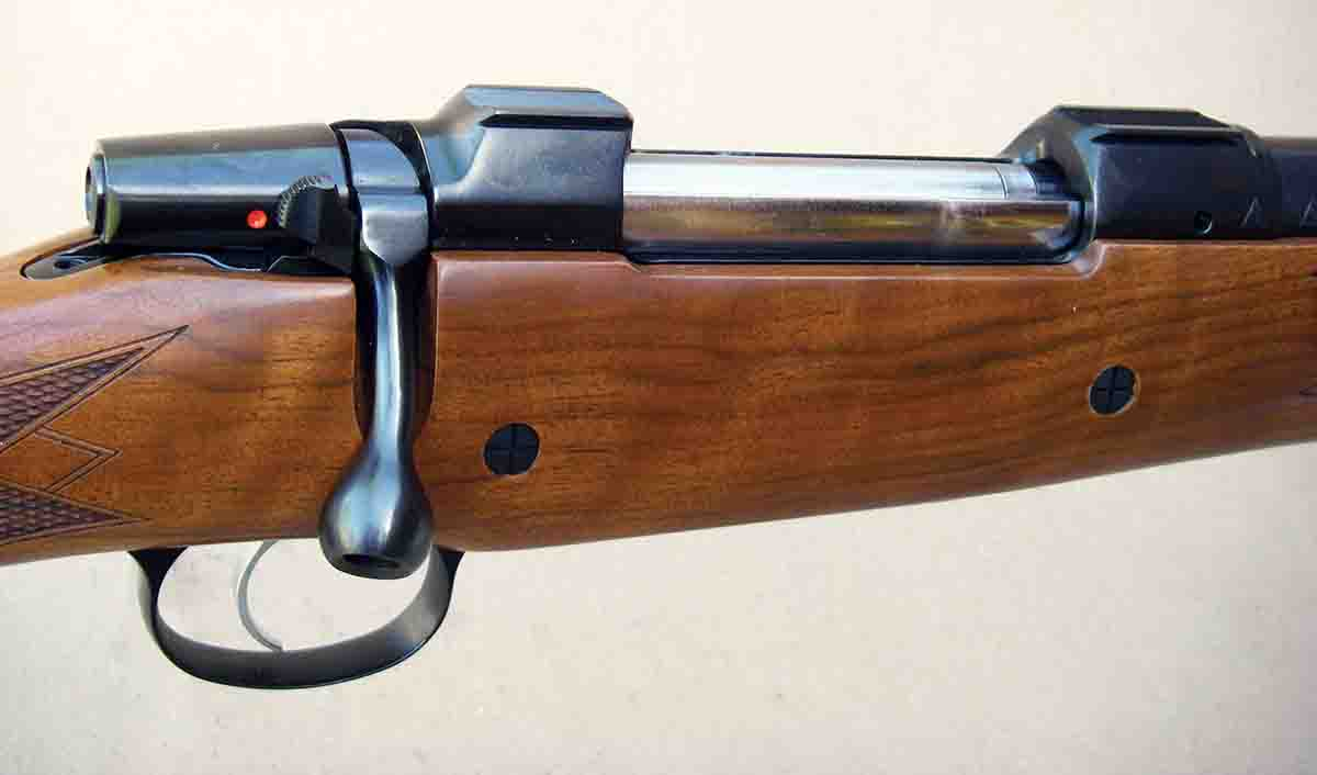 The rifle features a magnum size controlled-round feed Mauser 98 pattern action with a double-square bridge, single-set trigger and two-position safety.