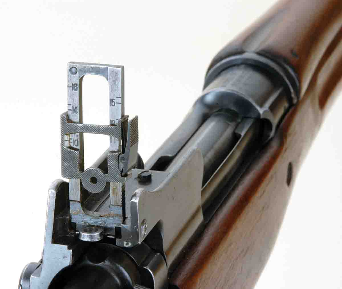 For rear sights, Model 1917s had a unique two- aperture rear. One aperture was used with the ladder lowered for a battle zero. When the sight ladder was raised, a second aperture came into play with elevation graduations to 1,800 yards.