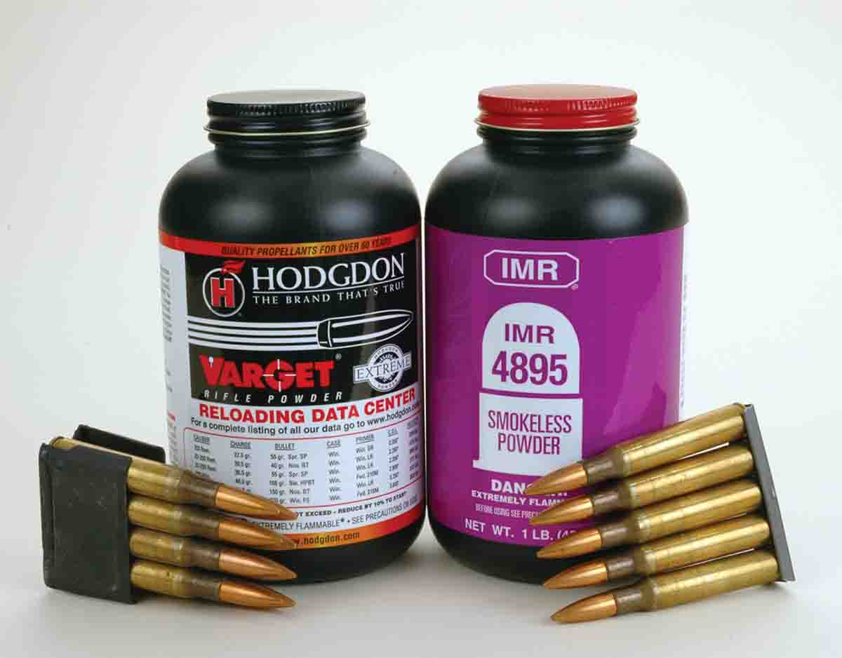 For handloads that will be used in either bolt-action .30-06s or semiautos, Mike has come to favor these two propellants of medium burn rate.