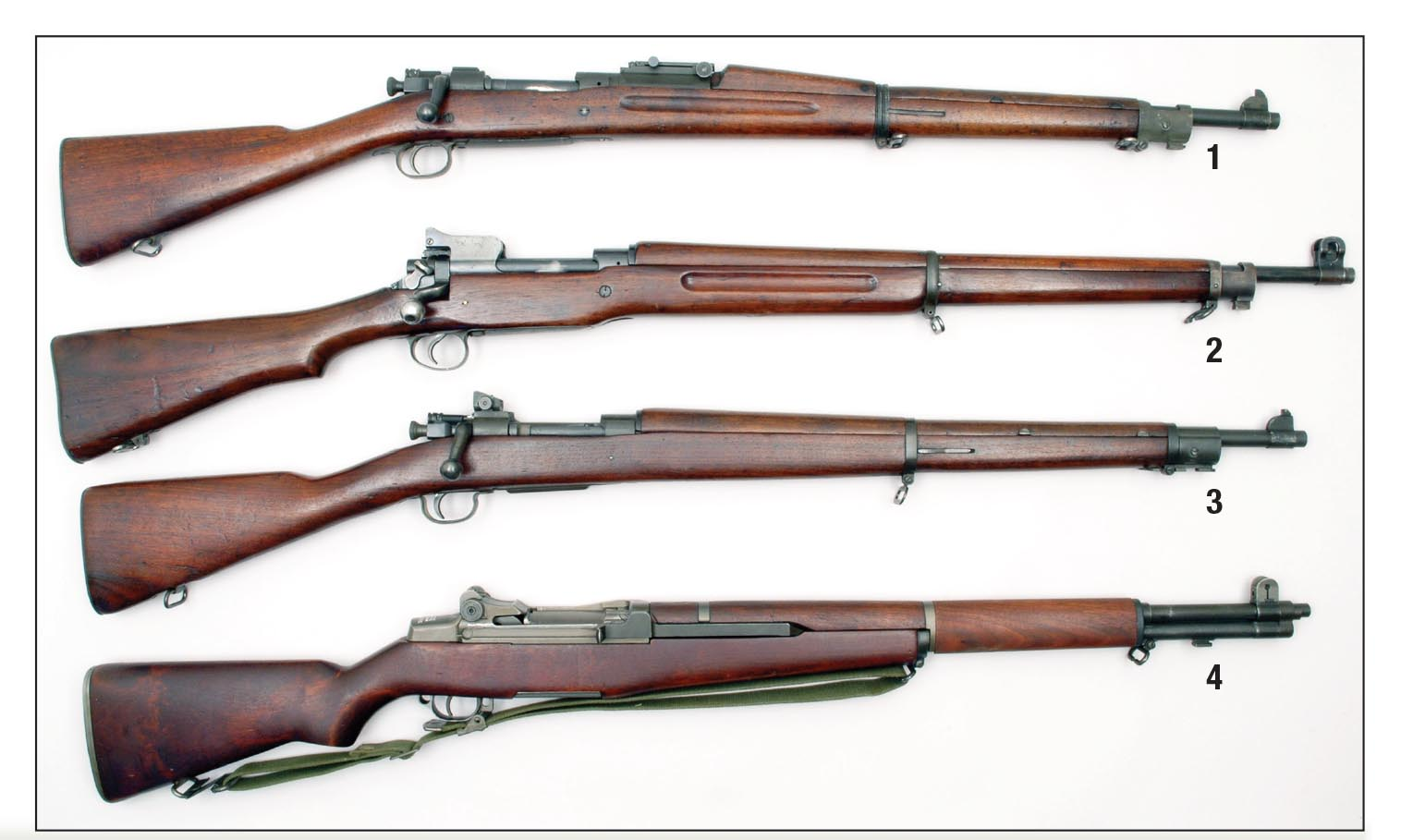 These four rifles were the most abundant .30-06 infantry rifles used by American troops between 1906 and the late 1950s: (1) Model 1903, (2) Model 1917, (3) Model 1903A3 and (4) M1.