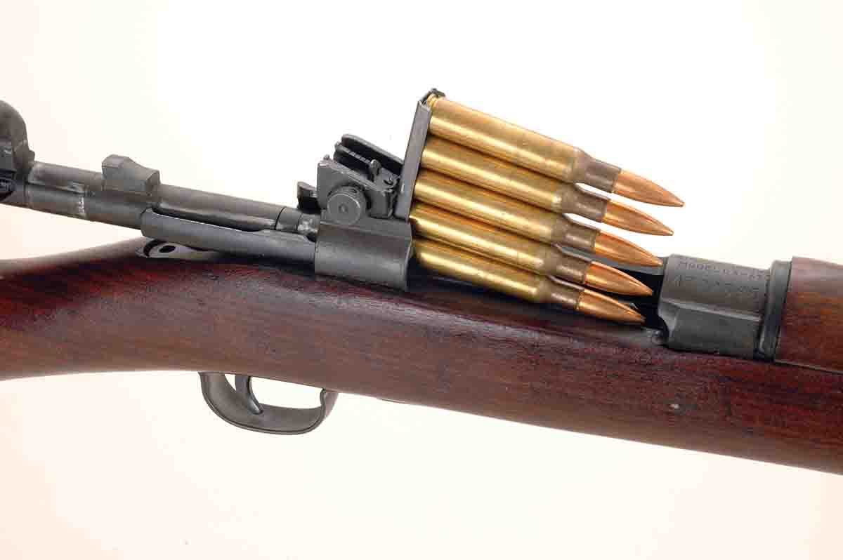 Model 1903 and Model 1903A3 Springfields loaded from the top by means of five-round stripper clips.