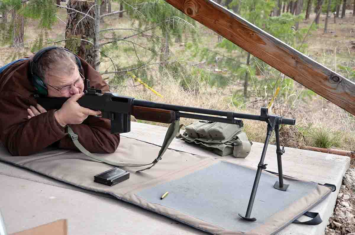 Mike takes a turn on a friends Model 1918A2 Browning Automatic Rifle.