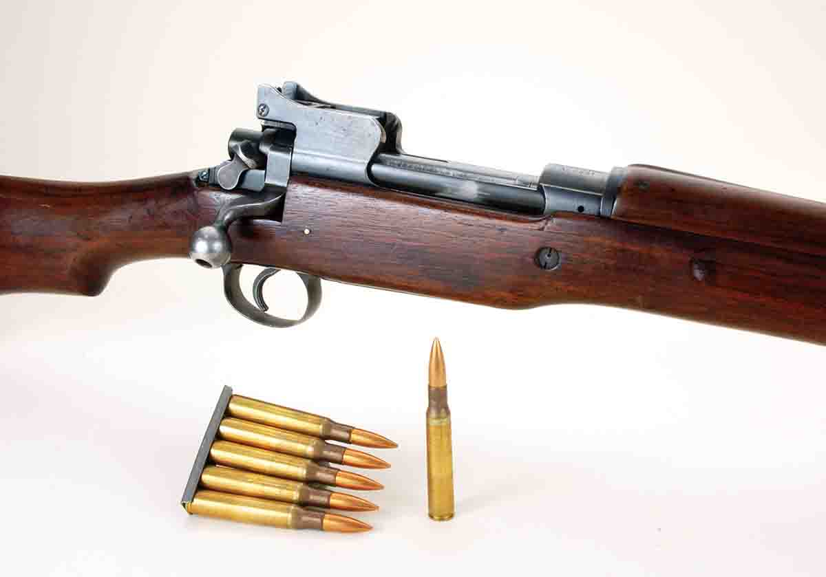 Because the original design of Model 1917s had been for Britain's .303 cartridge, their magazines could actually hold six .30-06 cartridges. However, troops were issued the same five-round stripper clips used for Model 1903s.