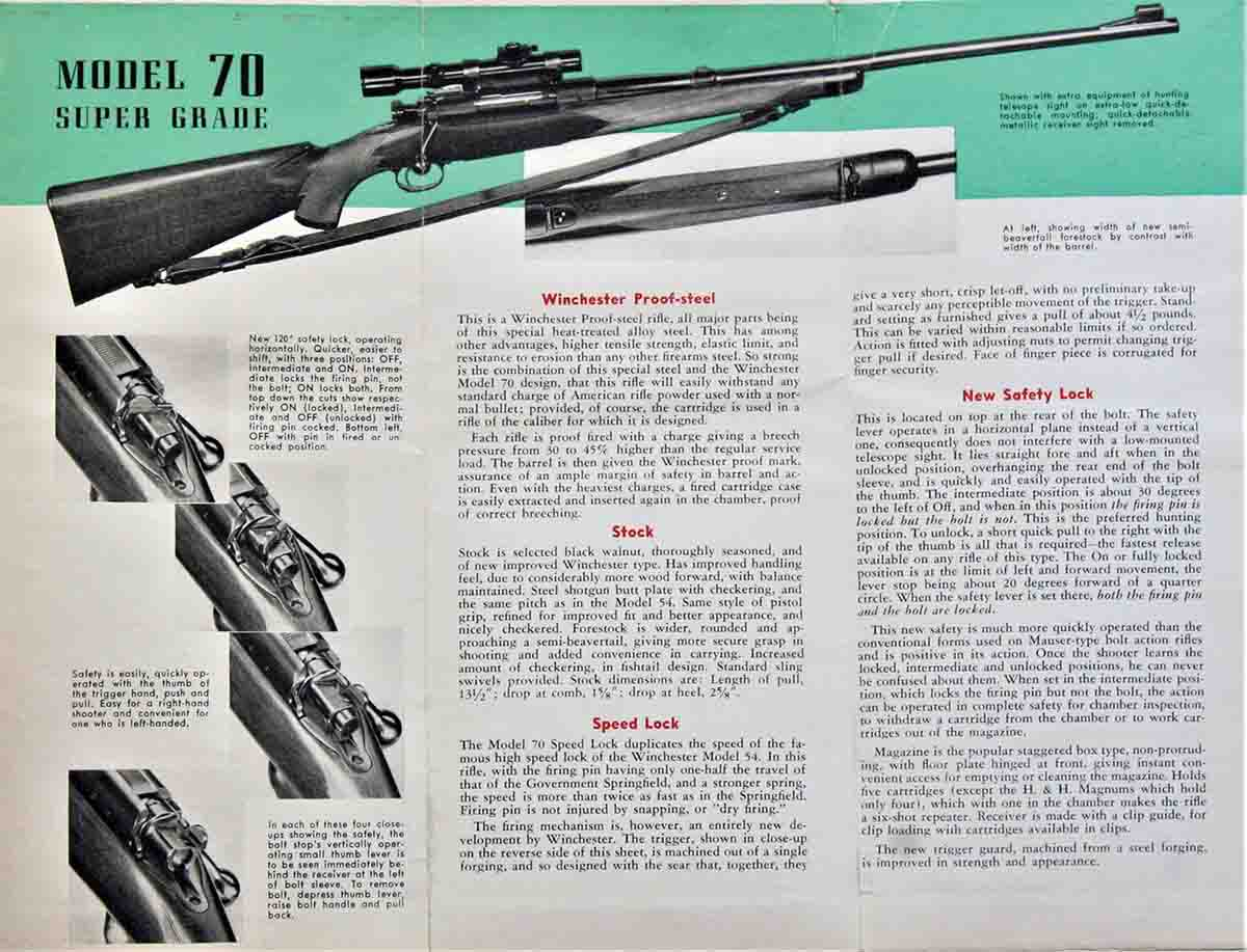 "Winchester claimed the ""New Safety Lock"" was compatible with low-mounted scopes, but three noted gun writers of the day disagreed. It also had to be pulled ""backward"" to fire the rifle."