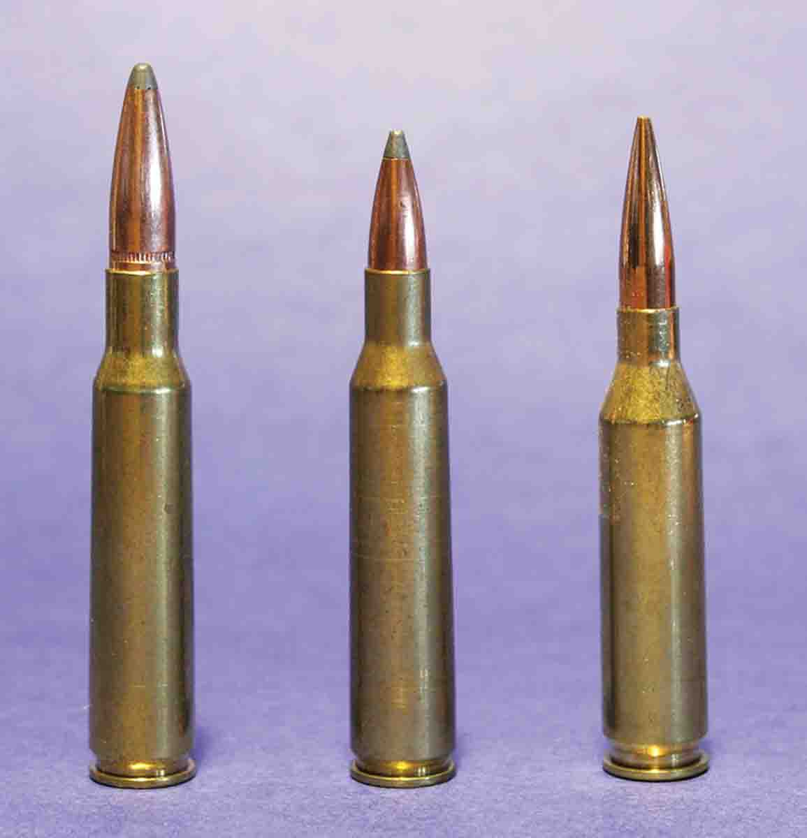 The .257 Roberts (center) introduced by Remington in 1934 was basically the 7x57 Mauser (left) necked down. The .257's heyday lasted only until 1955, when Winchester introduced the .243 (right).