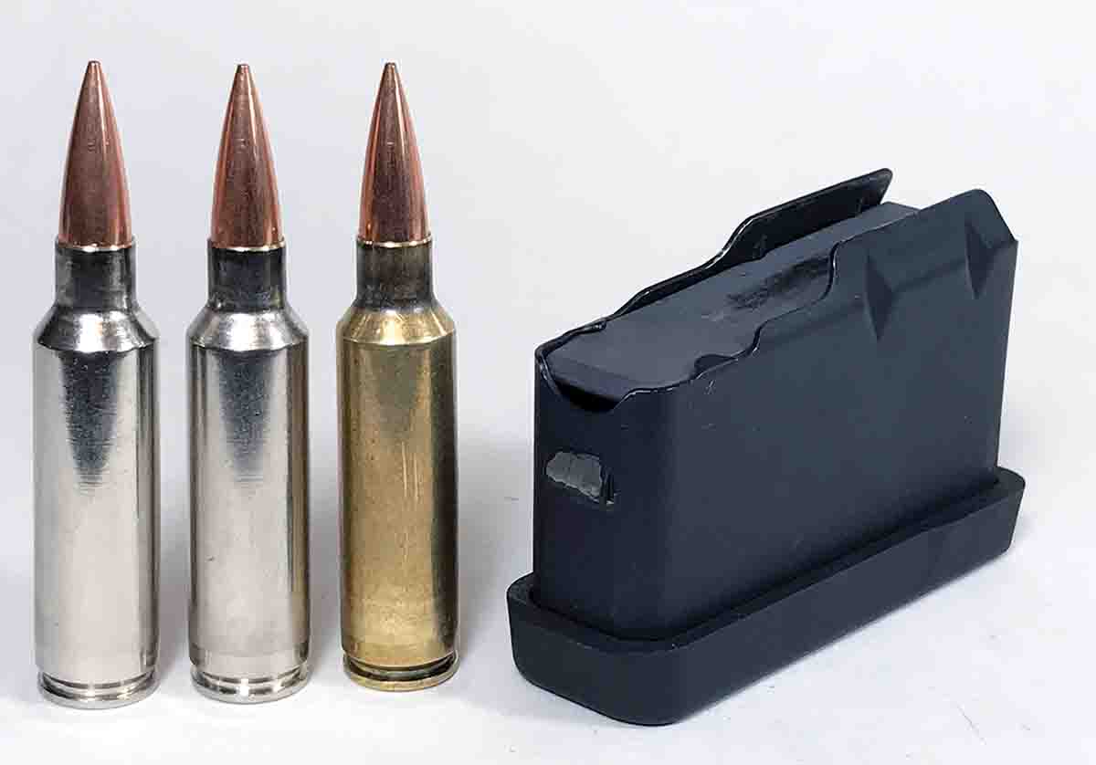 The Pro-Series 2000 action has a detachable magazine. The magazine holds three .300 WSM cartridges in a single stack.