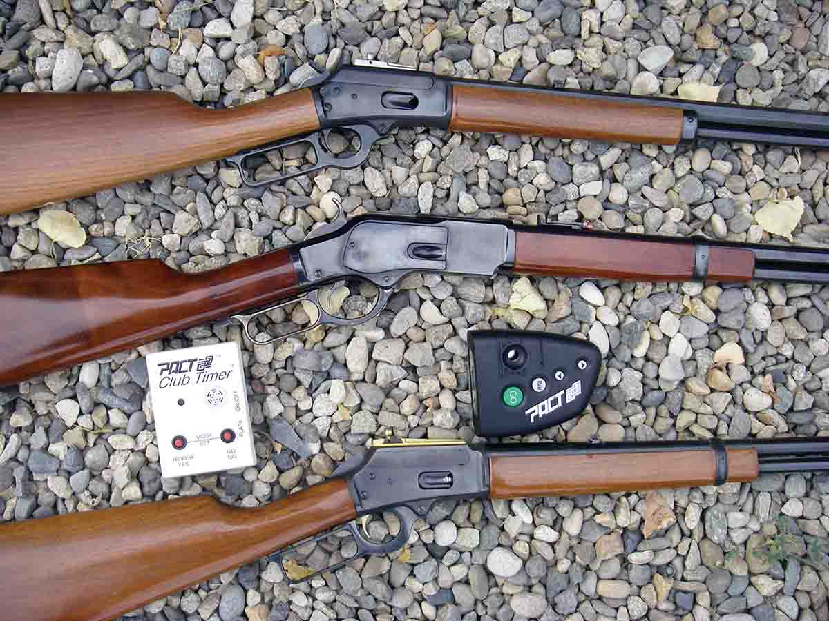Marlin Model 1894s and Cimarron Uberti Model 73 rifles chambered in .357 Magnum and .45 Colt were fun and accurate. Timers were used to check the time of speed shooting events.