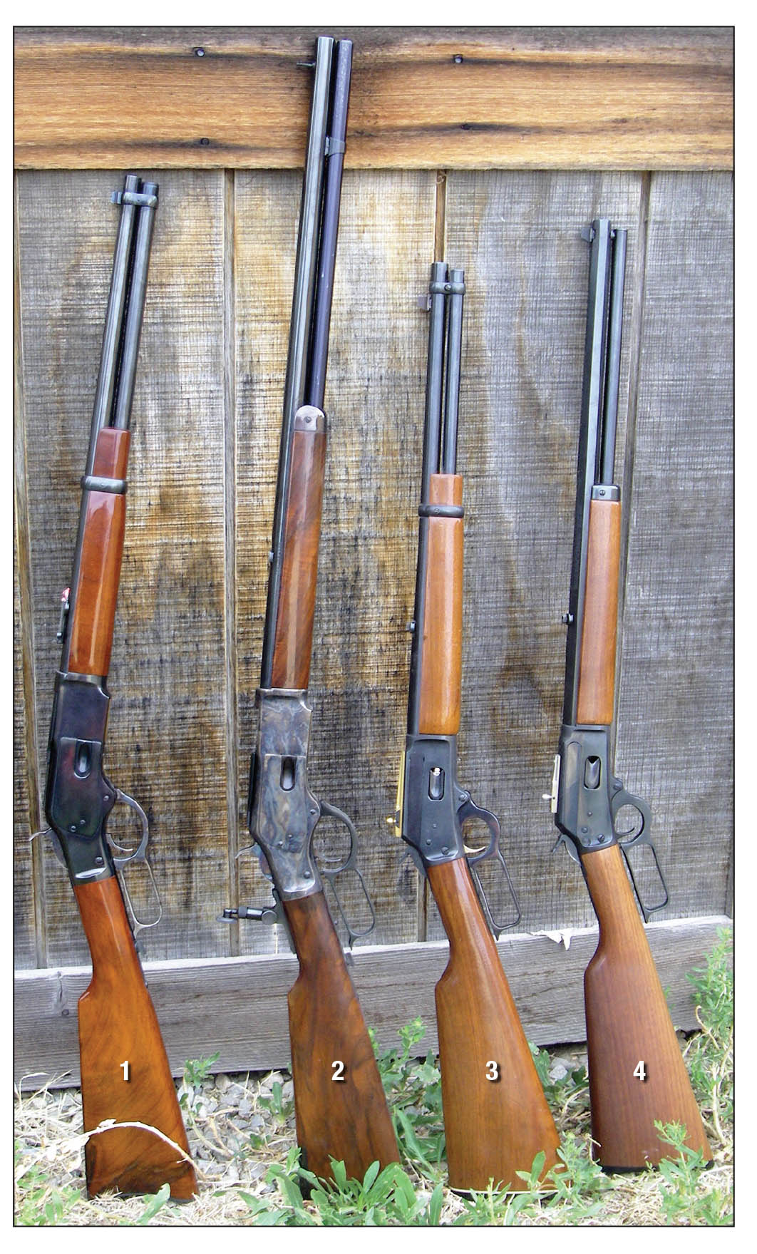 These lever-action rifles were very popular: (1) Uberti 1873 .357 Magnum, (2) Cimarron 1873 Carbine .45 Colt, (3) Marlin 1894 carbine .357 Magnum, (4) Marlin 1894 Cowboy .45 Colt.