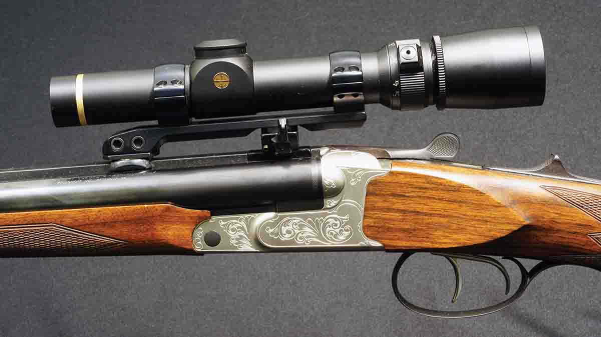 "This is typical modern machine-applied ""engraving"" on a Krieghoff double rifle from the 1990s. It serves little practical purpose and, being identical to every other rifle of this grade, has absolutely no individuality."