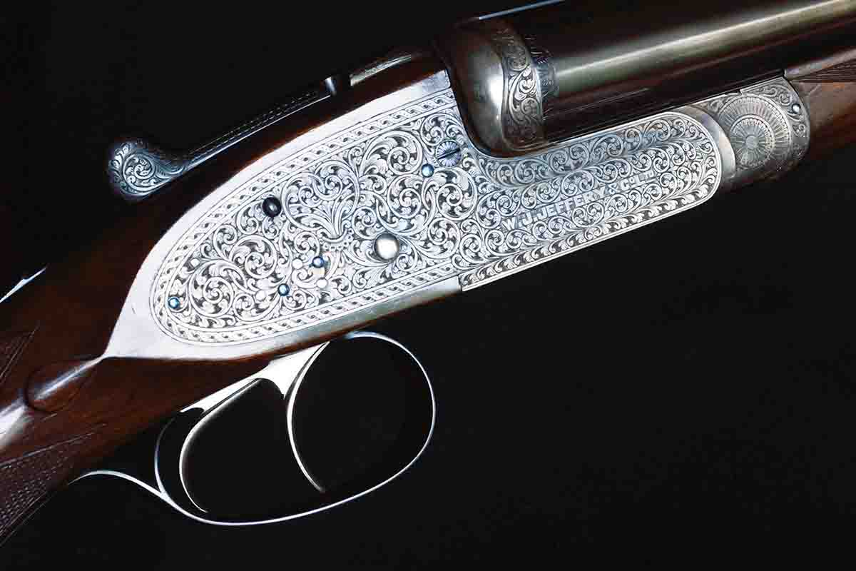 A W.J. Jeffery sidelock double rifle from before 1914. One of the most beautiful double rifles Terry has ever seen, yet the engraver's name is unknown – probably one of the many freelance engravers working in London at the time, who charged by the hour. It's a masterpiece by any measure.