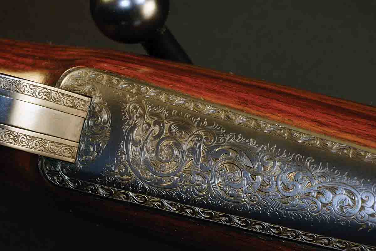 Floorplate scroll engraving on a John Rigby .400-350, probably made between 1900 and 1914.