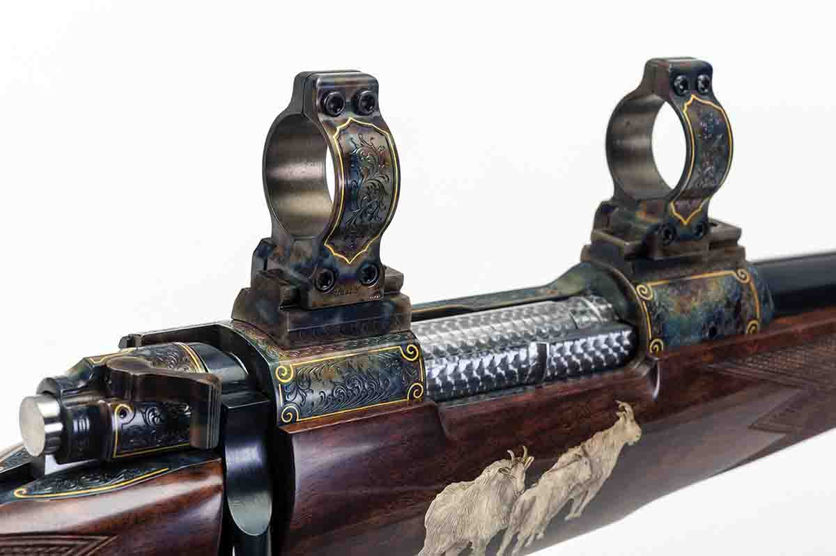 This custom rifle built by Tony Galazan on a Dakota action is heavily engraved and gold-inlaid, with matching scope mounts – a no-holds-barred showpiece that, alas, will probably never see the field.