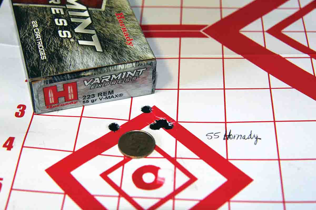 Hornady's 55-grain V-MAX Varmint Express factory ammunition matched Howa's MOA guarantee with a five-shot group. It pushed bullets to 3,031 fps from the 20-inch barrel.