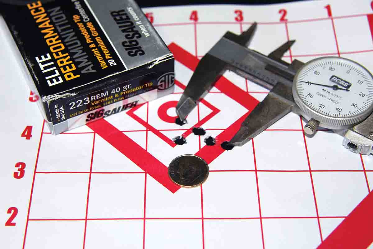 SIG SAUER's 40-grain Predator & Varmint Tip factory ammunition produced a .97-inch, five-shot group at 100 yards from the Howa XL Lite Chassis, with velocities of 3,457 fps from the 20-inch barrel.