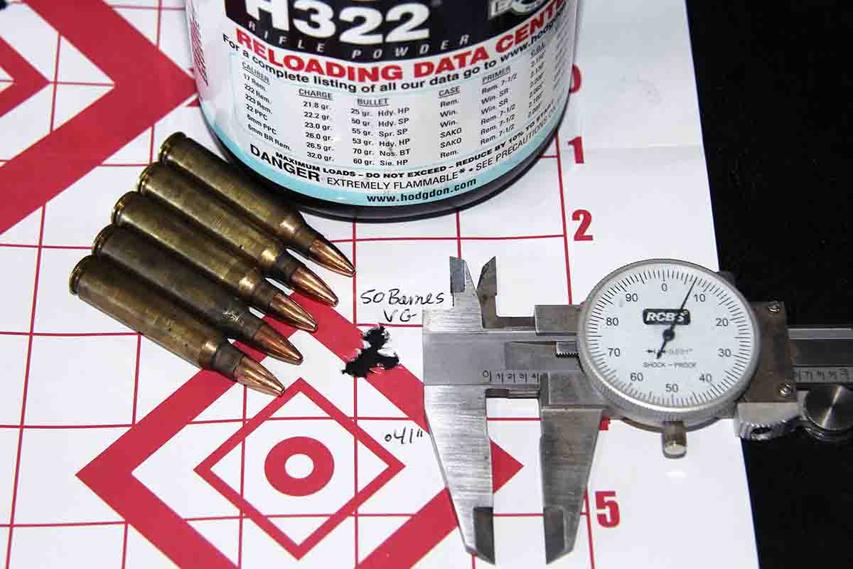 The best group shot was produced by 24.5 grains of Hodgdon H-322 beneath a 50-grain Barnes Varmint Grenade. It grouped into .41 inch. The load was originally developed for an AR.