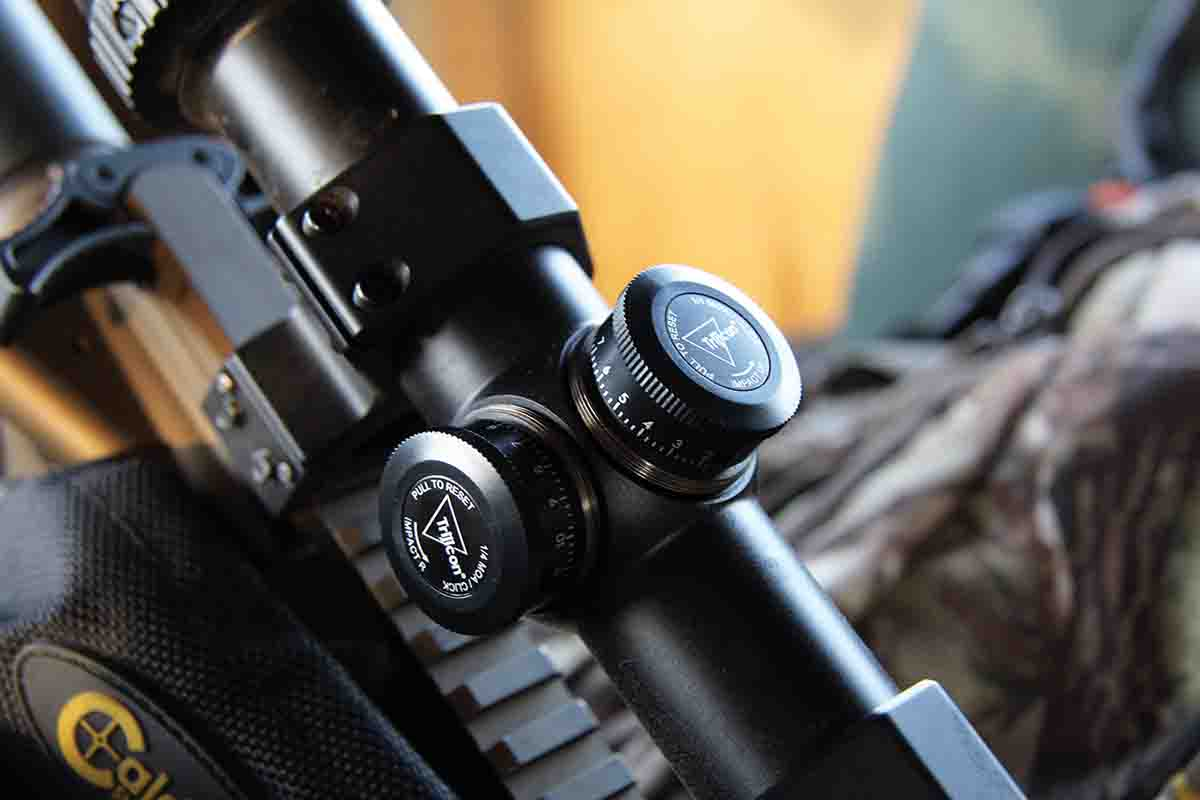 Trijicon's new Huron series variable riflescopes include low profile covered adjustment knobs with toolless zero-reset capabilities. The design could be used as turrets, but the caps help to seal out dust and moisture.