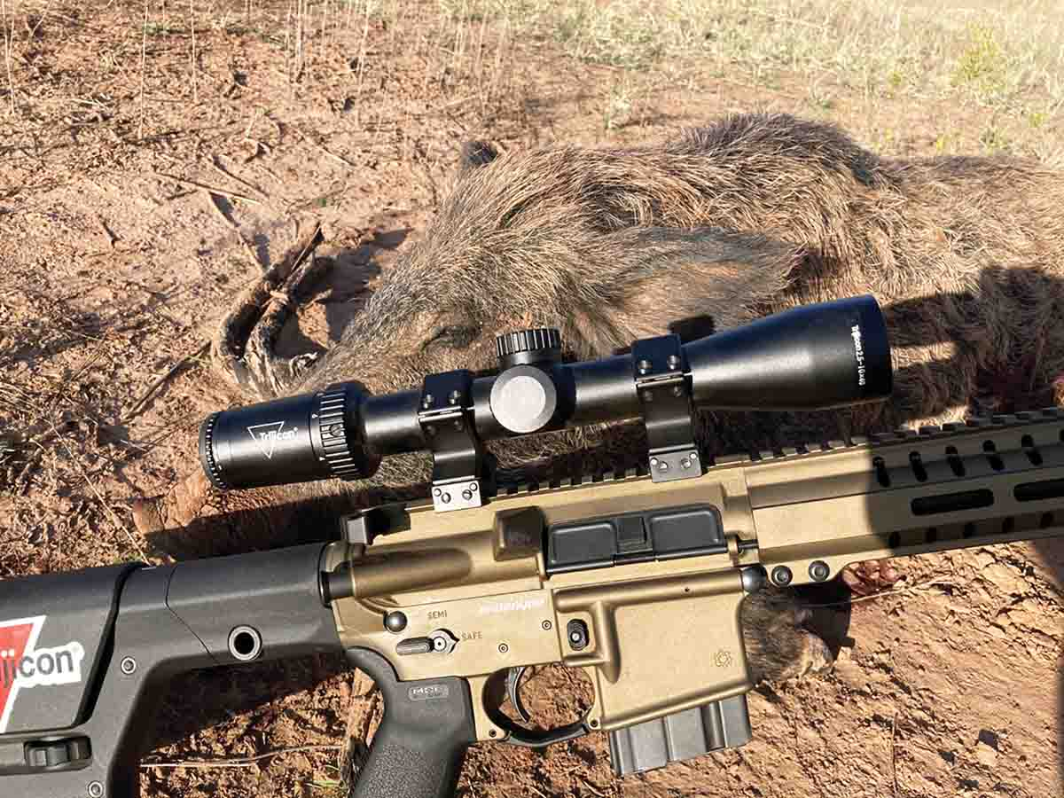 Trijicon's new Huron scopes can be ordered with a BDC Hunter Drop reticle, which includes both holdover and windage correction hash marks.
