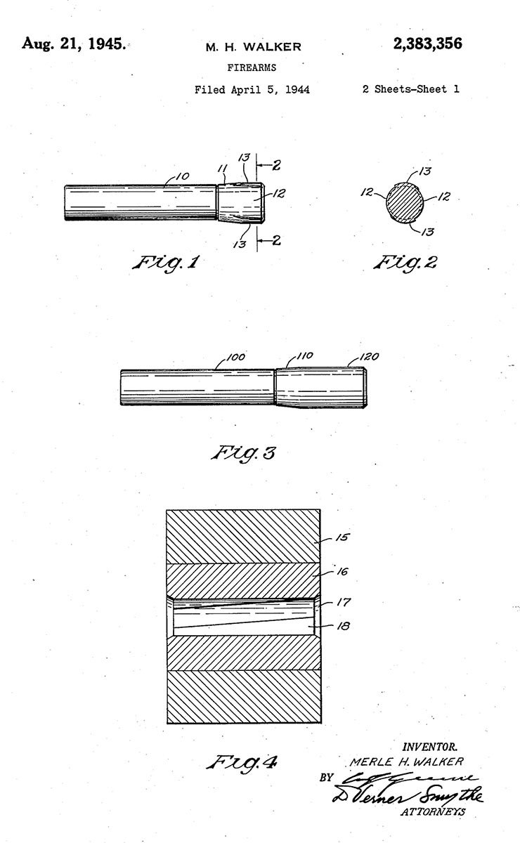 The Walker/Remington patent for button rifling was awarded in April 1944.