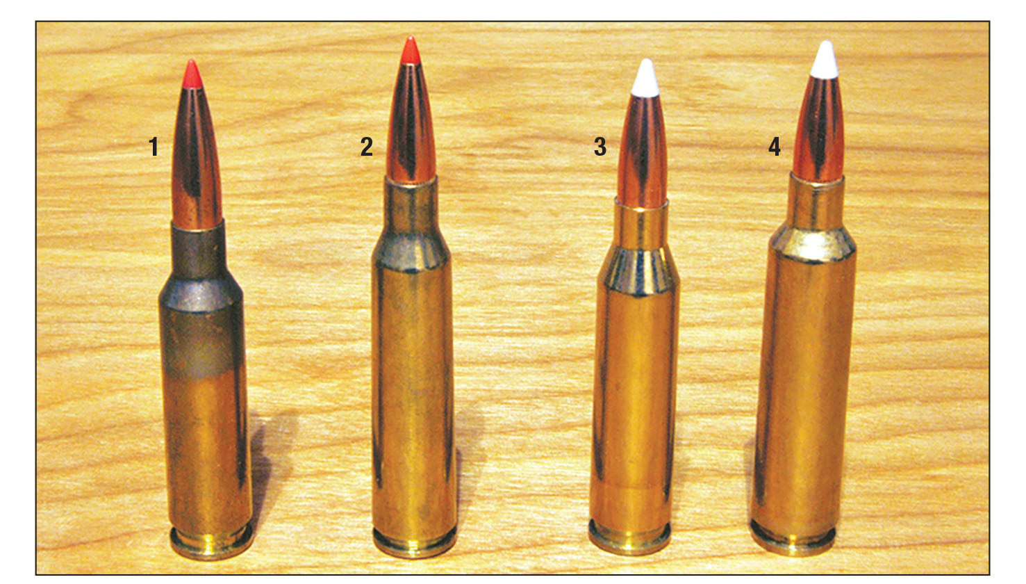 These similar cartridges include the (1) 6.5 Creedmoor, (2) 6.5x55 Mauser, (3) .260 Remington and the (4) 6.5-284 Norma.