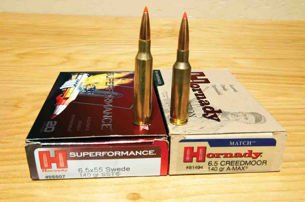 Hornady's 6.5x55 Swede SUPERformance 140-grain SST load has a stated velocity of 2,735 feet per second (barrel length unknown). The 6.5 Creedmoor Match load with 140-grain A-MAX bullets is said to run at 2,710 feet per second from a 24-inch barrel.