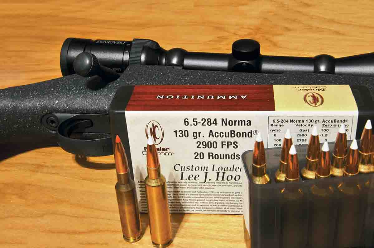 NoslerCustom 6.5-284 Norma 130-grain AccuBond loads are said to provide a muzzle velocity of 2,900 feet per second. At left is the 6.5 Creedmoor and at right is the 6.5-284 Norma. Note that there is little difference between the two cases.