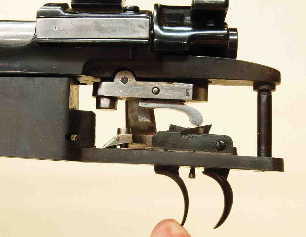 If the mechanism is not set, the front trigger will fire the rifle, but only after a long, two-stage pull.