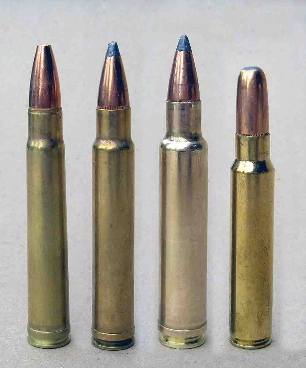 (Left to right): .375 H&H; .375 Weatherby Magnum based on blown-out .375 H&H brass; .378 Weatherby Magnum with increased powder capacity and velocity; .375 Ruger that fits in a .30-06 length action.