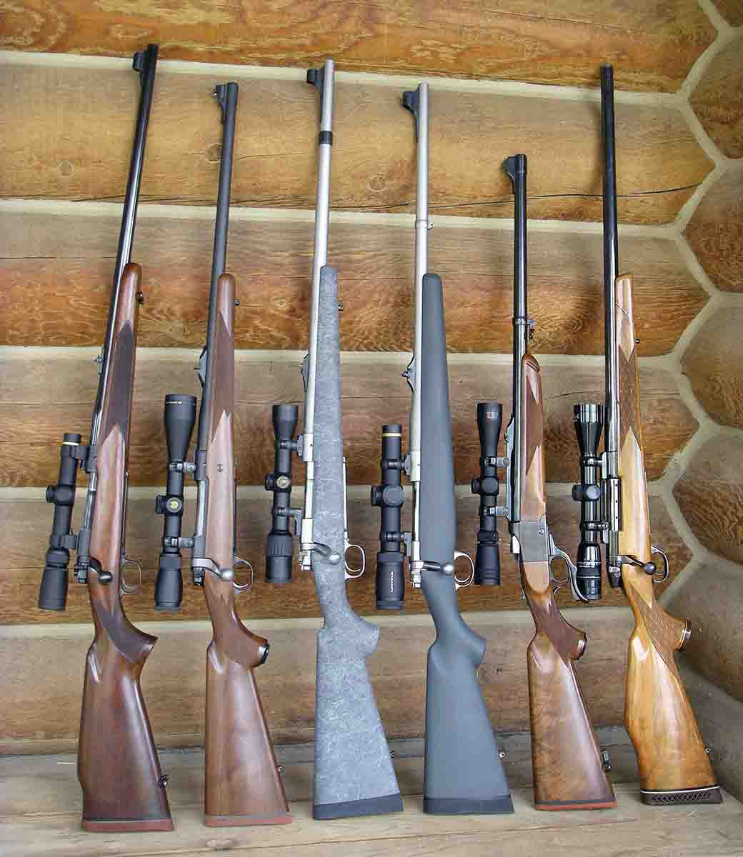 Popular .375 hunting rifles (left to right): Winchester pre-64 Model 70 .375 H&H Magnum, Ruger Hawkeye .375 Ruger, custom Winchester Model 70 Classic .375 H&H, Kimber Model 8400 Talkeetna .375 H&H, Ruger No. 1 .375 H&H and Weatherby Mark V .378 Weatherby Magnum.