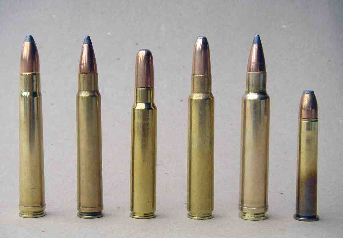 Popular .375 cartridges include (left to right): .375 H&H Magnum, .375 Weatherby Magnum, .375 Ruger, .375 Remington Ultra Mag, .378 Weatherby Magnum and .375 Winchester.
