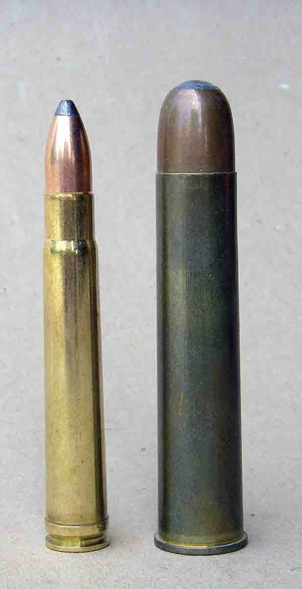 "The .375 H&H Magnum (left) is a medium-bore cartridge of unusual versatility. It is not a ""stopping"" cartridge, such as the big-bore .600 Nitro Express (right)."