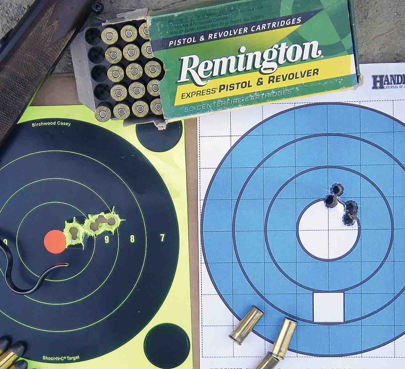 Factory loads from Remington and handloads were tried in the Model 1885 .45 Colt, which proved accurate at 50 yards.