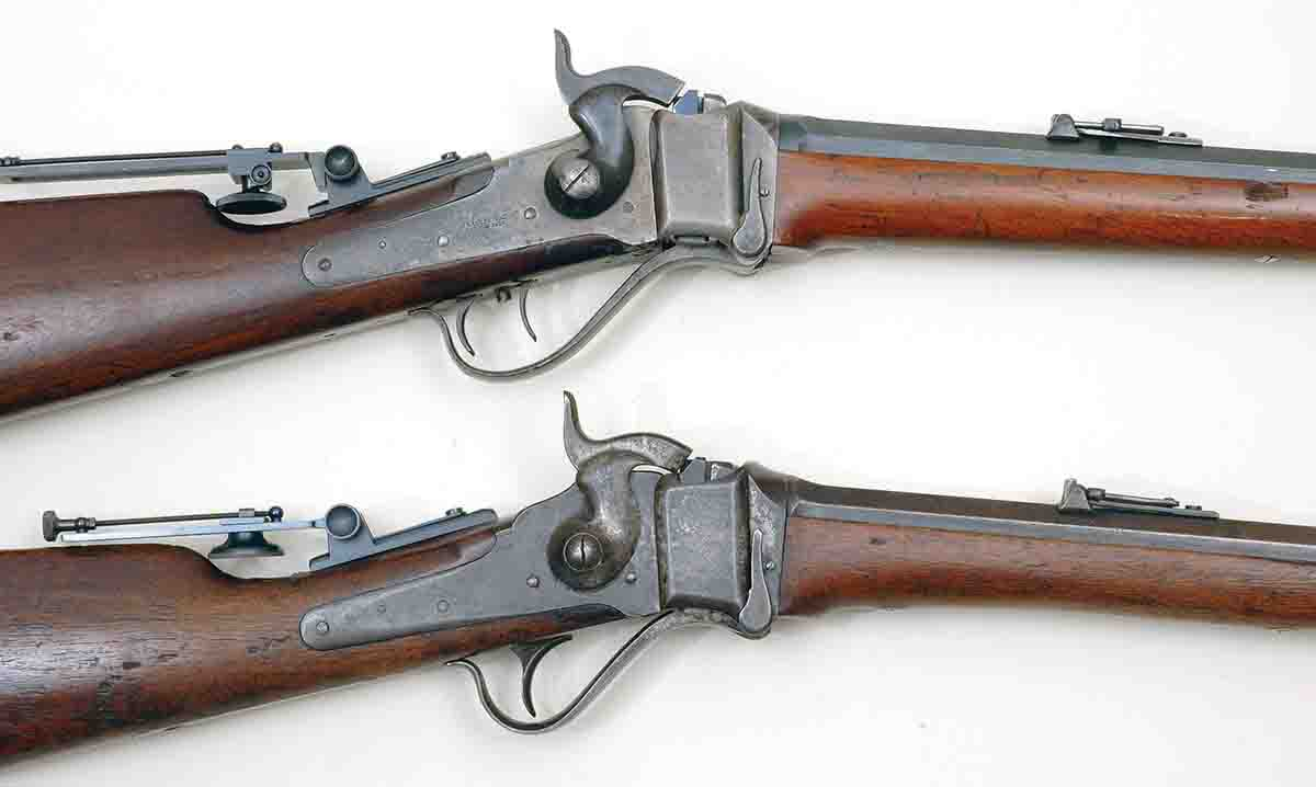 The Sharps Model 1874 had two trigger options: double set (top) and a single trigger. The set triggers were a $4.00 option.