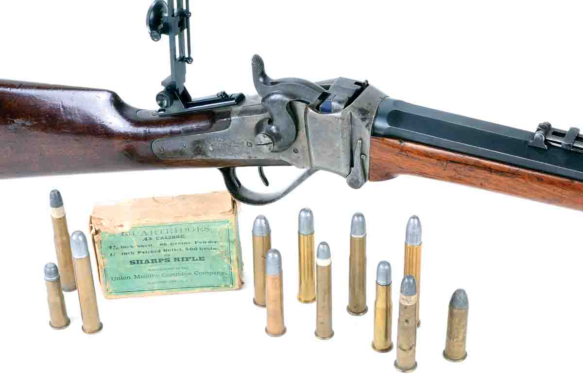 The Sharps Model 1874 was made in only four bore sizes, but its cartridges included both bottlenecked and straight cases in a wide variety of lengths.