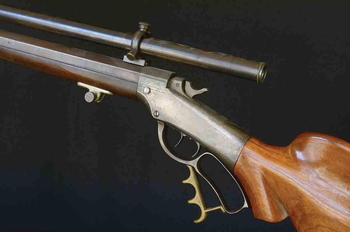 The Ballard .32-40 is a classic target rifle; the Schoyen barrel with a false muzzle and adjustable scope mounts are unique to the era.