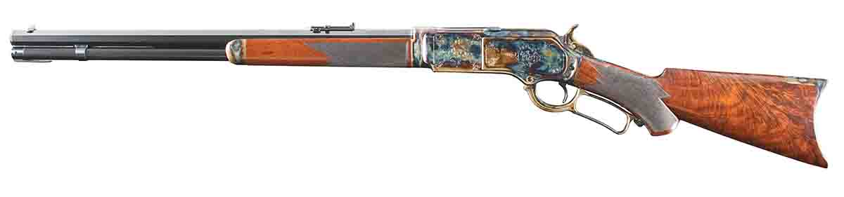 The 24-inch barrel and magazine are nitre blued with color case on the receiver, buttplate, hammer, lever and forend cap.