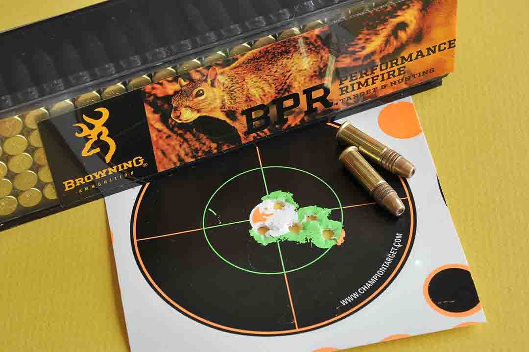 This 25-yard group measuring only .650 inch is courtesy of the new Browning BPR ammunition.