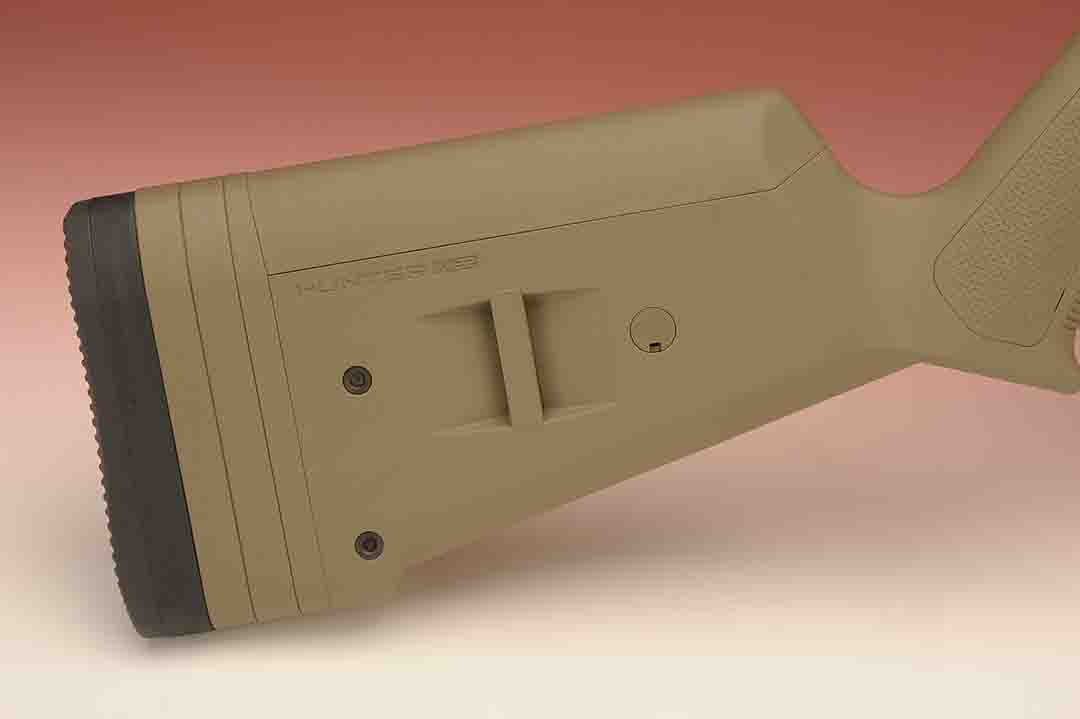 This Magpul stock allows for the use of a side sling arrangement if desired.  The rear of the stock is adjustable for length of pull, while the comb can be raised to suit the contour of the shooter's face.