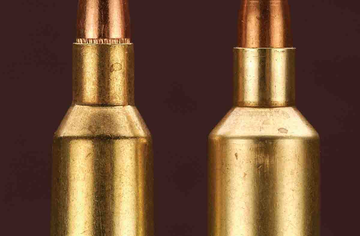 The .22-250 Remington case (left) is shown with the Improved version (right).
