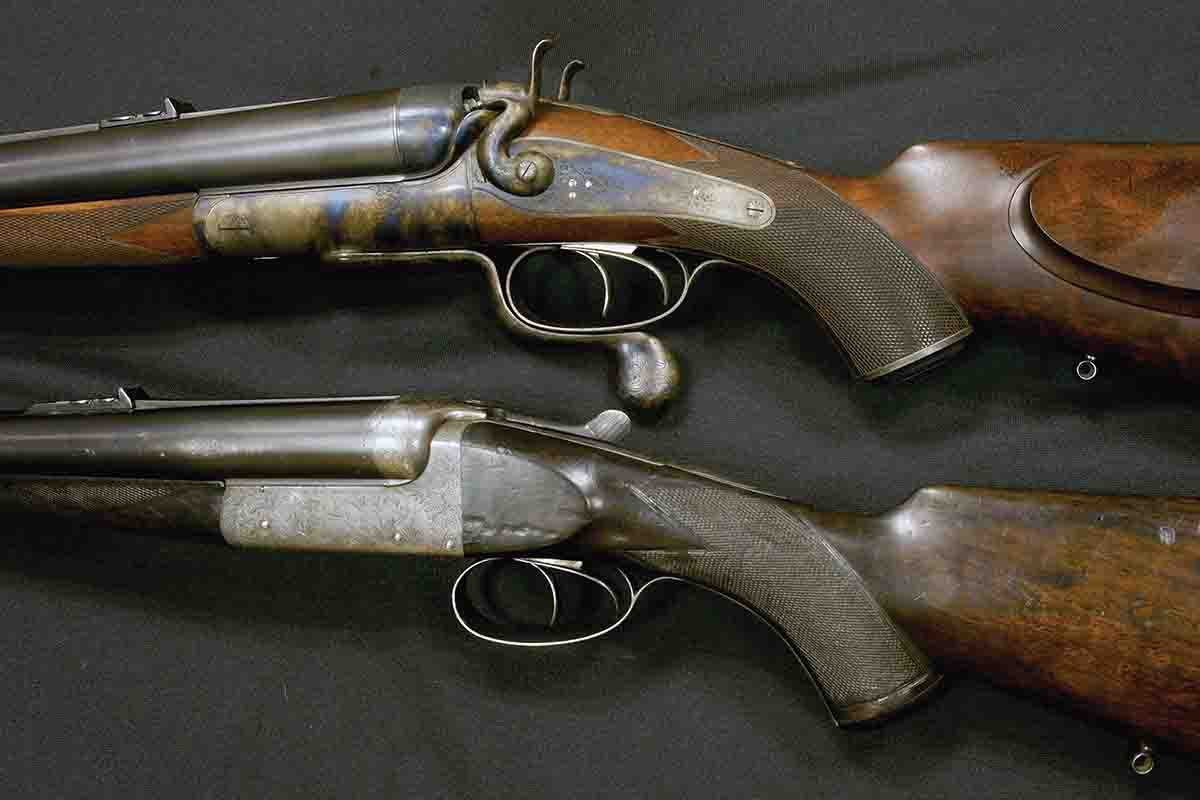 "Smokeless powder spelled the death of huge black-powder ""gauge"" rifles, like this Army & Navy 8-bore (top). The .500 Nitro Express (bottom) by Charles Boswell belonged to Kenya professional John Hunter."
