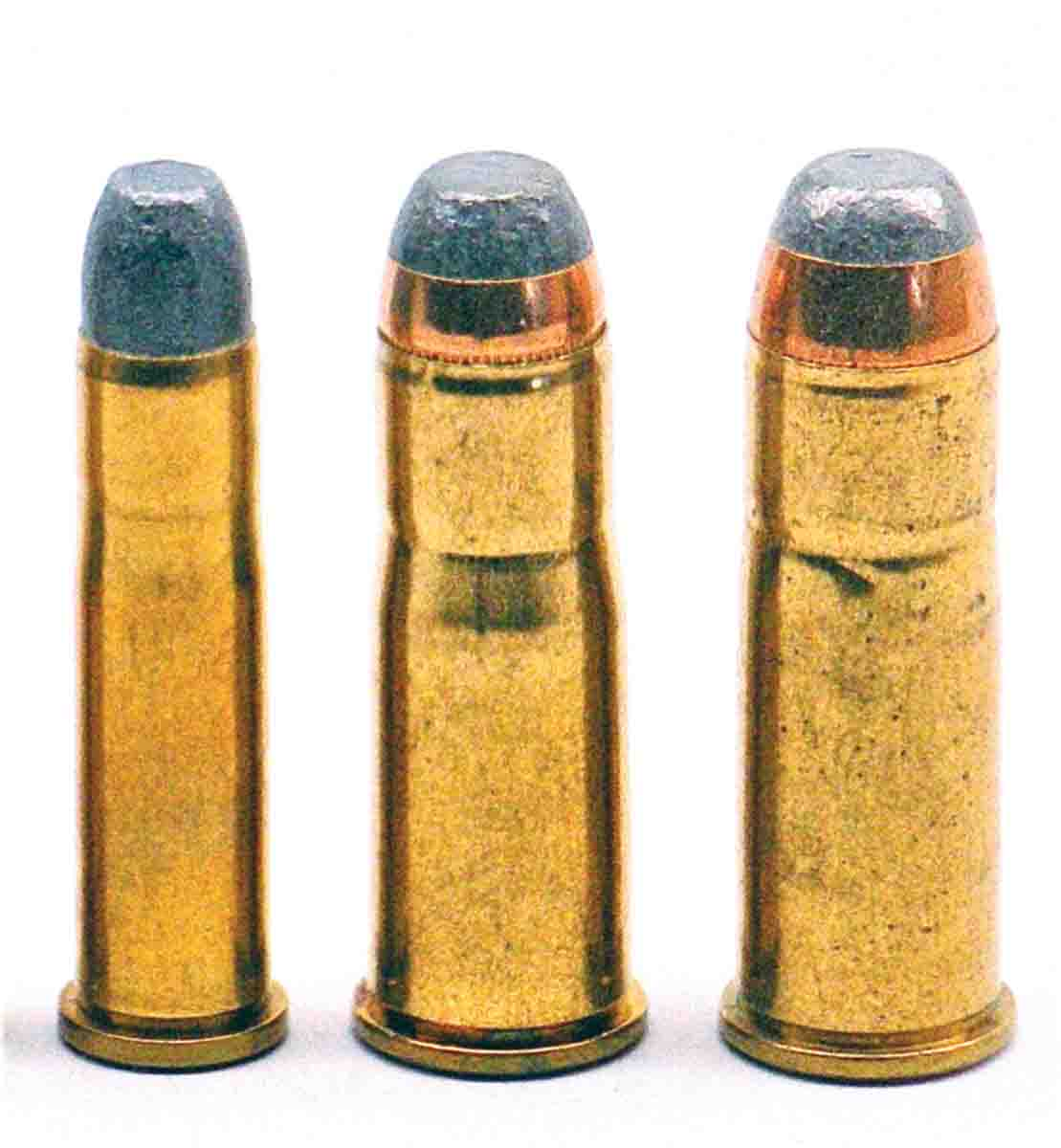 The M73 was first chambered for .44 WCF (right) followed by .38 (center) and .32 WCF (left) in 1879 and 1882, respectively.
