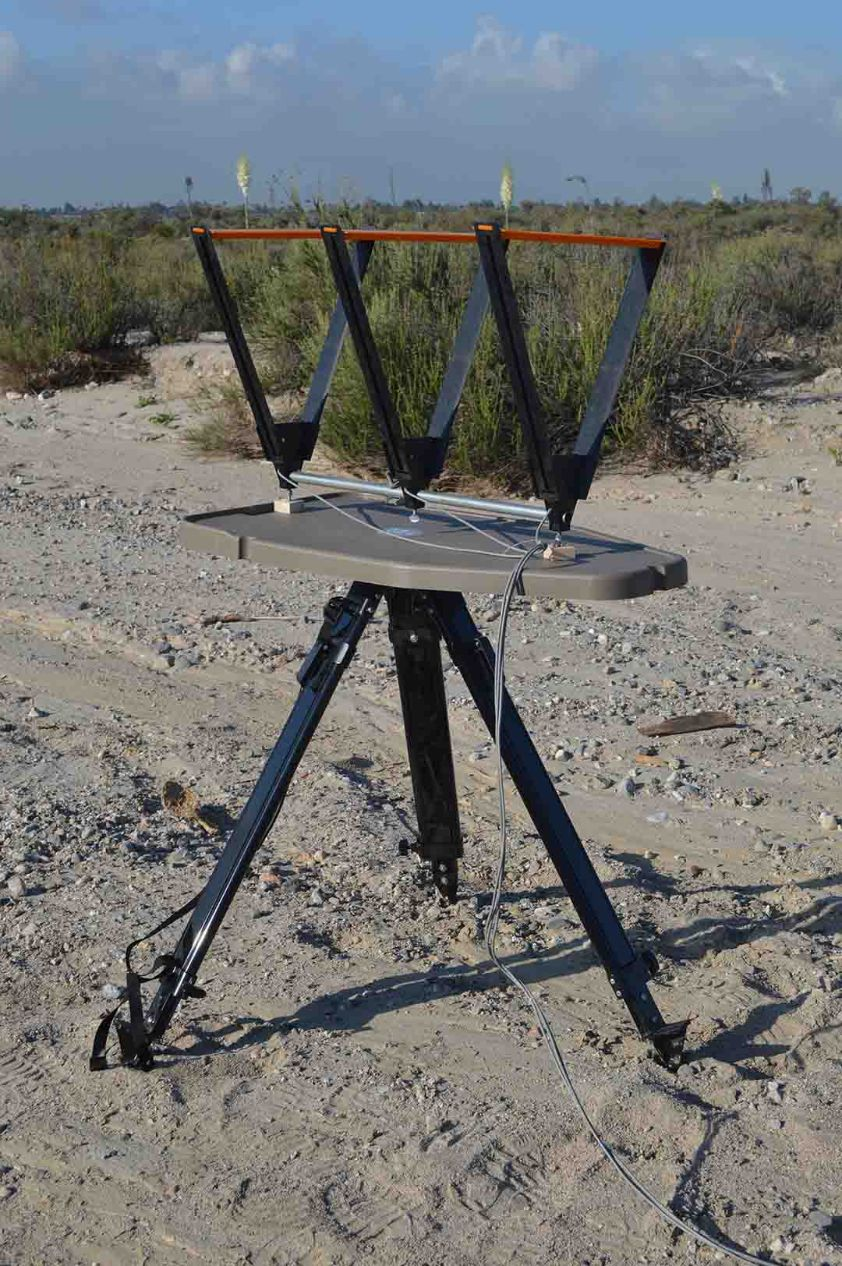 The High-Low Shooting Table can be used as a chronograph stand. For the Oehler 35P it was a simple matter of drilling a couple of holes the correct distance apart and adding a couple of wood spacers, washers and wingnuts.