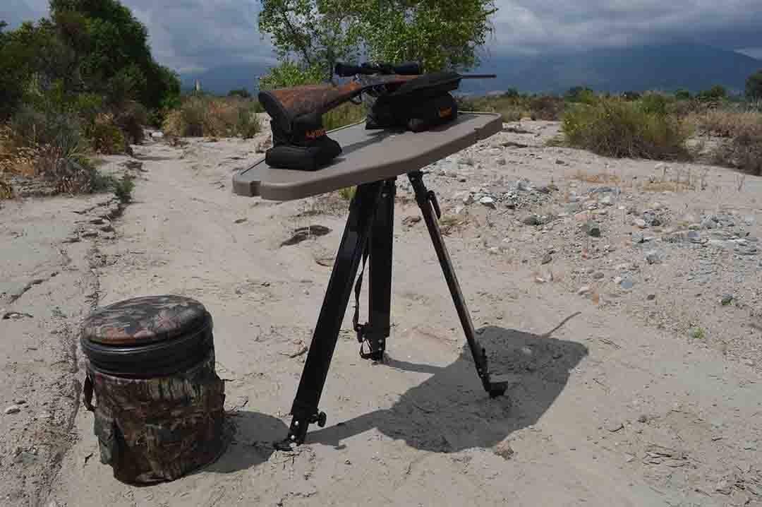 The MTM High-Low Shooting Table gives the hunter/shooter a very portable, stable shooting table that can be adjusted from 18 to 55 inches in height.