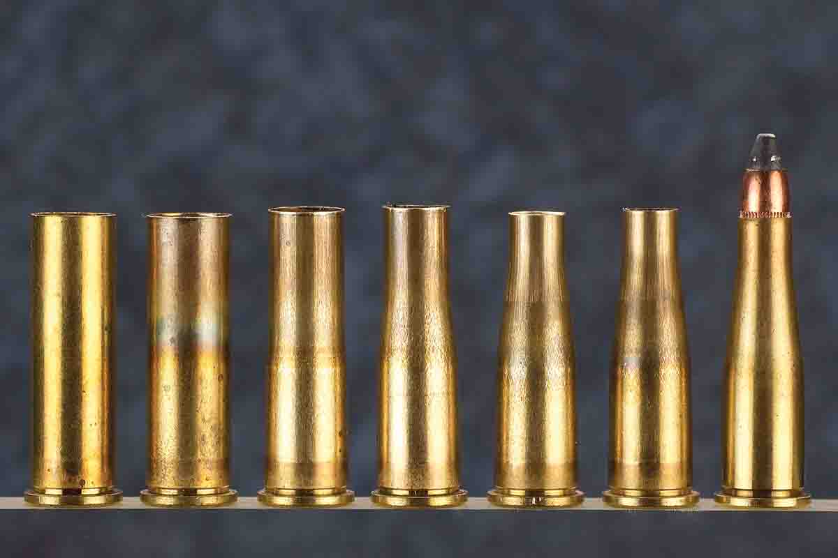 Left to right, starting with a new .357 magnum case, this shows the various stages in forming it to .22 Jet.